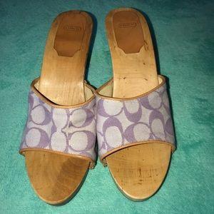 Purple Coach Wood Sandals